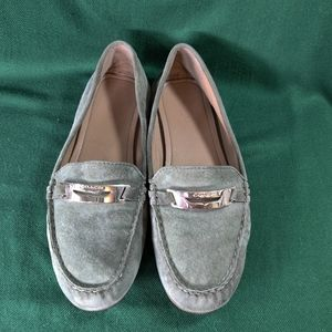 "Coach Loafers ""Olympia"" Sage Green Suede Shoes"